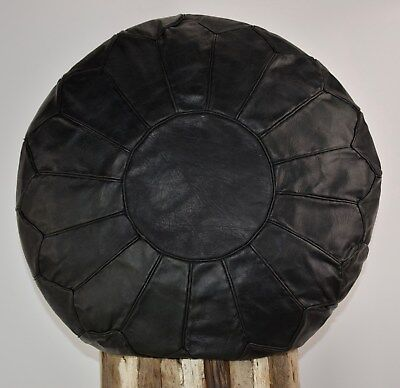 Black Patent Bean Bag - MOROCCAN 100% ORGANIC LEATHER PLAIN BLACK POUFFE FOOTSTOOL BEANBAG *HANDMADE*