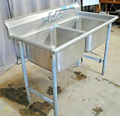 Restaurant Salvage 52 Stainless Steel 2 Bay Pot Sink Backsplash Advance Tabco