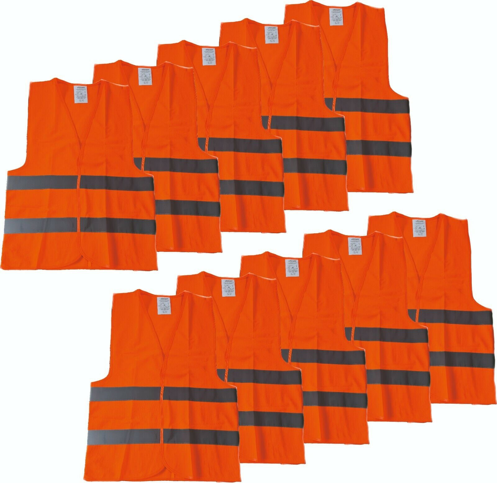 5er 10er Set Warnweste Sicherheitsweste Signalweste orange reflektierend Safety