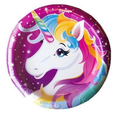 Rainbow Unicorn Birthday Party Plates, Magical Unicorn 9