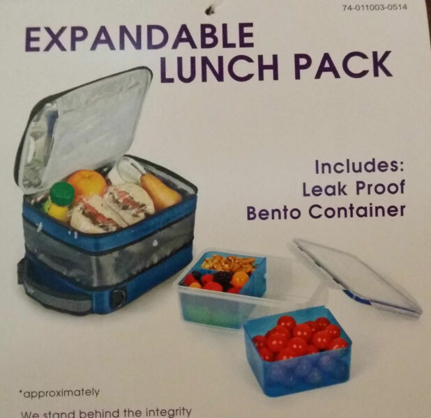 expandable lunch bag lunch box includes leak proof bento food container new ebay. Black Bedroom Furniture Sets. Home Design Ideas