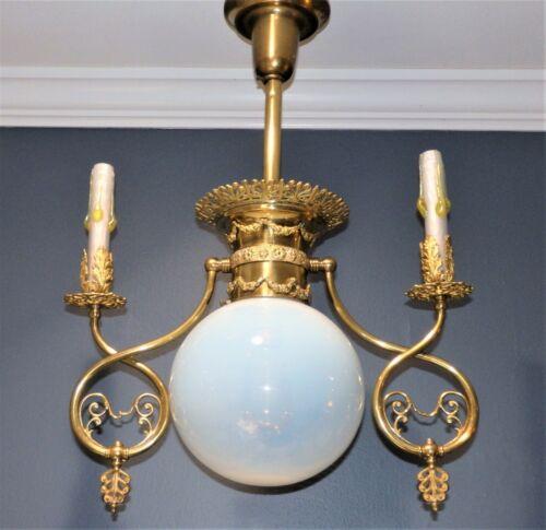Antique Opalescent Iridescent Candle GAS ELECTRIC Combo CHANDELIER Light Fixture