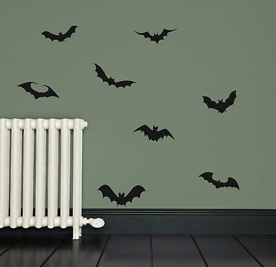 8 x Bat Vinyl Stickers Decals Wall Halloween Window PG63