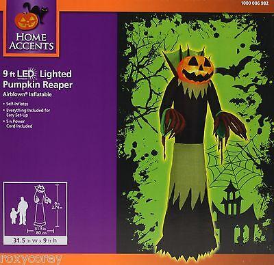 Halloween Gemmy 9 ft LED Lighted Pumpkin Reaper Airblown Inflatable NIB