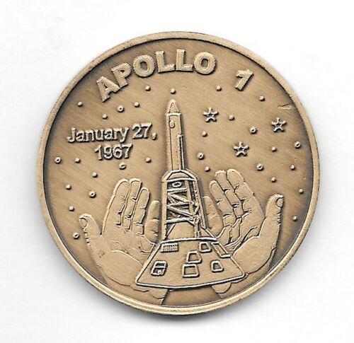 NASA APOLLO ONE WHITE-GRISSOM-CHAFFE MEMORIAL COMMEMORATIVE ANTIQUE BRONZE COIN