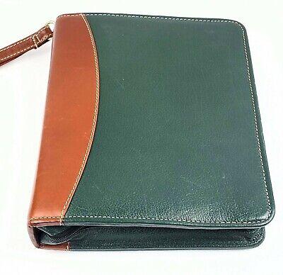 Euc Franklin Quest Leather Organizer Planner Classic Green Zip-around Binder
