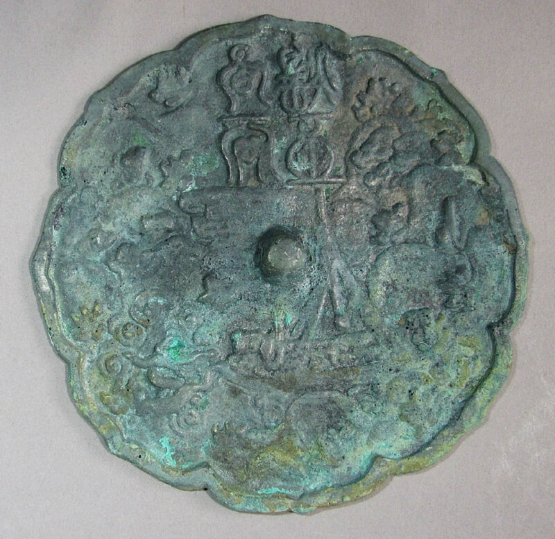 A Fine and Rare  Korean Koryo Bronze Mirro/ Natural Green patina-11th –14th C.: