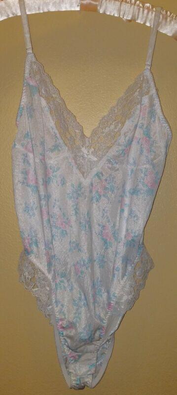 Vintage 80s Ashley Taylor Silky Nylon Teddy Floral Frilly Lace Hi Cut Size L USA