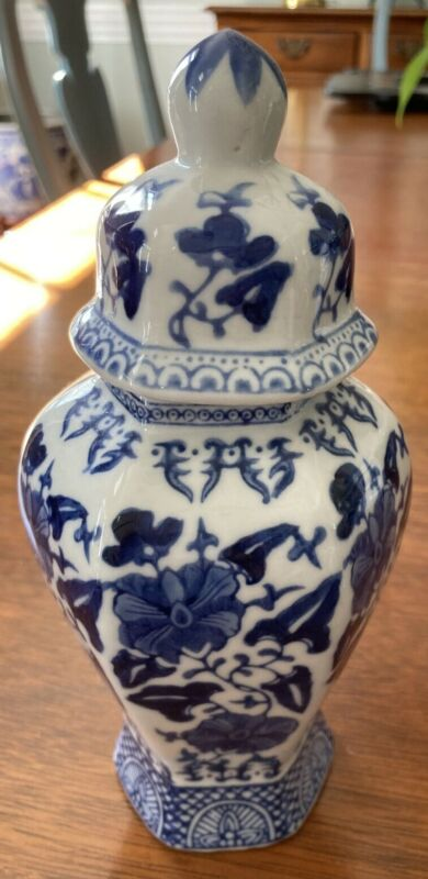 "Blue & White Ginger/Temple Jar 8"" tall w/ Lid - Flower Pattern - Hexagon Shape"