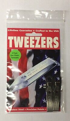 Uncle Bill's Sliver Gripper Tweezers Stainless Steel Keychain 2 Pack USA Made