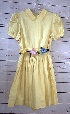 SIMONETTA Girls Size 85 US 10 Yellow Pleated Cotton A-line Dress Dressy Party