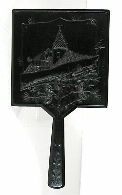 1860s VICTORIAN ORIENTALIST DESIGN GUTTA PERCHA HAND MIRROR VANITY SET MIRROR #2