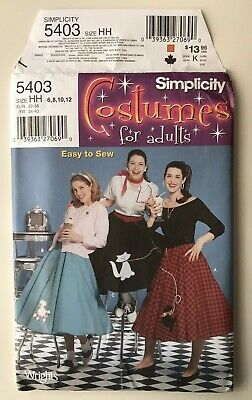 Poodle Skirt Costume For Adults (Simplicity 5403 NEW UNCUT Poodle Skirt Costumes for Adults Size HH)