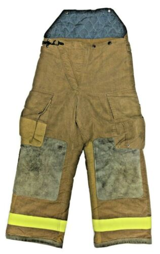32x28 Globe Brown Firefighter Turnout High Back Pants With Yellow Stripes P1264