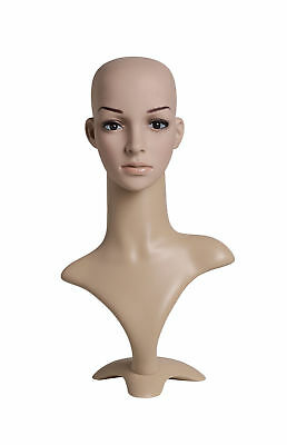 "Female Plastic Mannequin Flesh Tone Head Height 19"" Head 21"" Wigs Hats Scarves"
