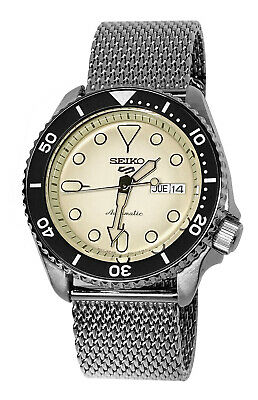 Seiko 5 Sports Automatic SRPD67 Cream Day Date Dial Silver Steel Bracelet Watch