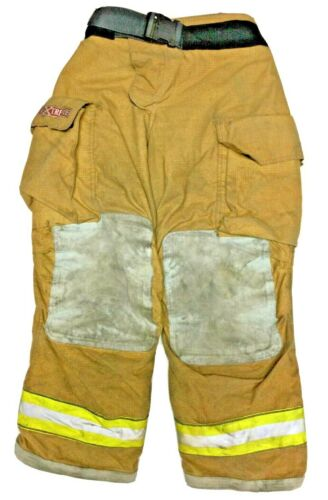 34x30 Globe Gxtreme Brown Firefighter Turnout Pants With Yellow Tape P1226
