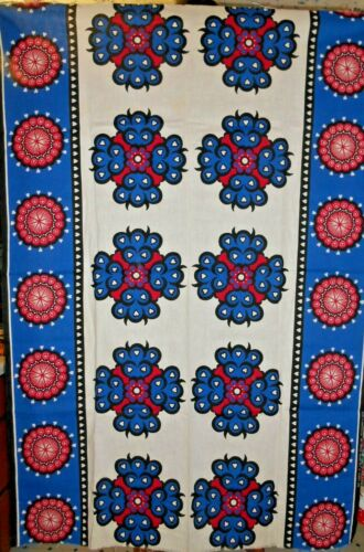Vintage African Printed Red Blue Black Hearts Cotton Wrap Kenya Fabric Textile