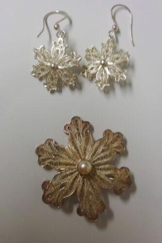 Vtg Signed BJ Sterling Silver Filigree Christmas Snowflake Pin Brooch Earrings