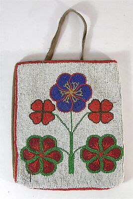 ca1900 NATIVE AMERICAN NEZ PERCE INDIAN BEAD DECORATED HIDE FLAT BAG w/ POPPIES