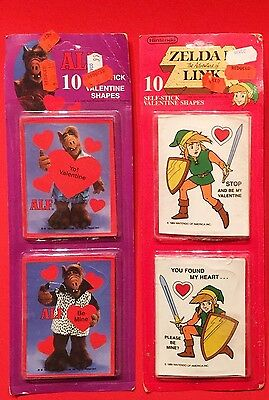 Vintage New 1980s Valentine's Stickers Nintendo Zelda Alf Retro Video Game