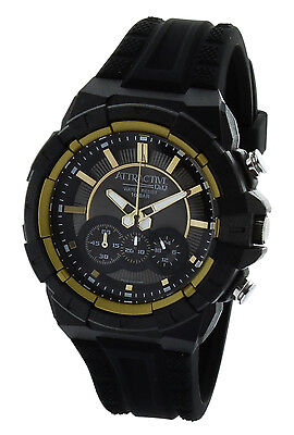 Attractive By Q Q Dg08j002y Chronograph Mens Sports Watch  Black And Gold