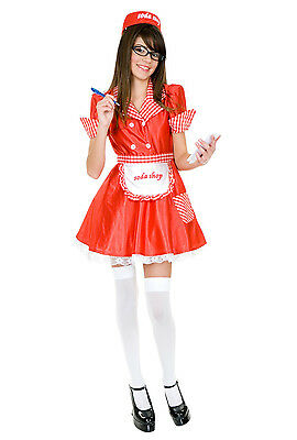Soda Shop Waitress 50's Diner Retro Girl Fancy Dress Up Halloween Child Costume