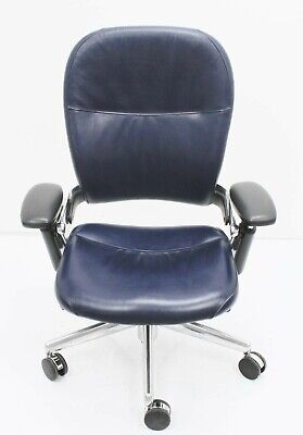 Steelcase Leap V1 Chair Navy Leather Executive Fully Loaded Polished Alum. Aeron