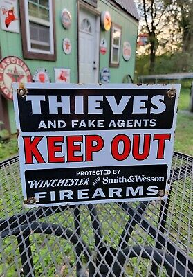 KEEP OUT Firearms porcelain sign vintage style winchester Smith Wesson hunting