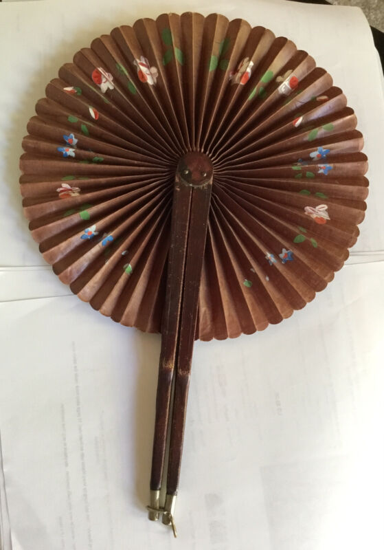 Antique Mourning Hand Fan Pat.June 1880, Handpainted Brown Cloth, Leather