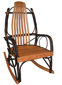 amish hickory oak bentwood rocking chair natural quick ship