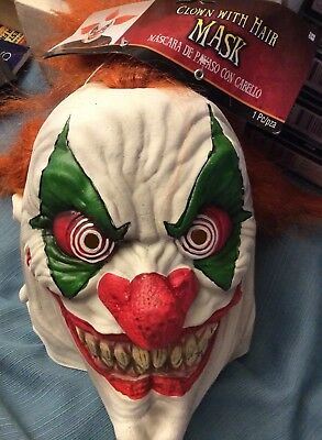 CLOWN WITH HAIR HALLOOWEEN MASK. MEAN FACE. NEW WITH TAGS GREAT LOOK