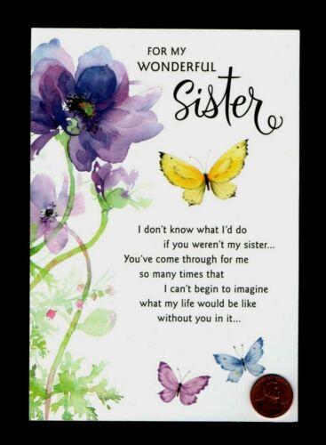 Birthday HALLMARK Butterflies Flowers GLITTERED Sister Greeting Card W/ TRACKING
