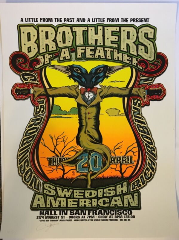 Brothers of a Feather concert poster Black Crowes Chris Robinson Limited Ed.#147