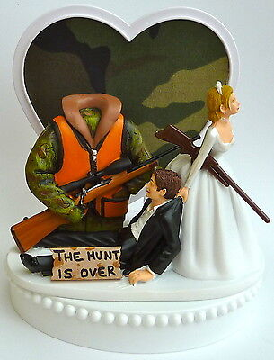 Camo Wedding Cake Toppers (Wedding Cake Topper the Hunt is Over Hunter Hunting Themed Camo Vest)