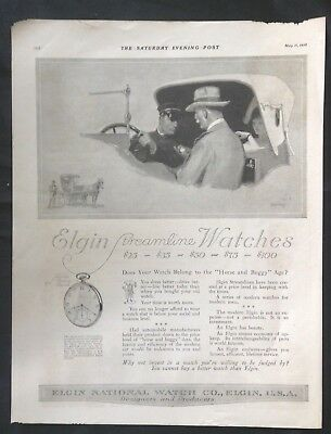 1918 Vintage Magazine Ad ~ Elgin Streamline Watch ~ artist signed Barclay