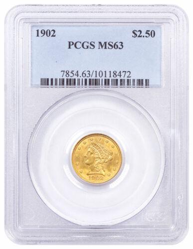 1902 $2.5 Gold Liberty Head Quarter Eagle PCGS MS63 SKU61219