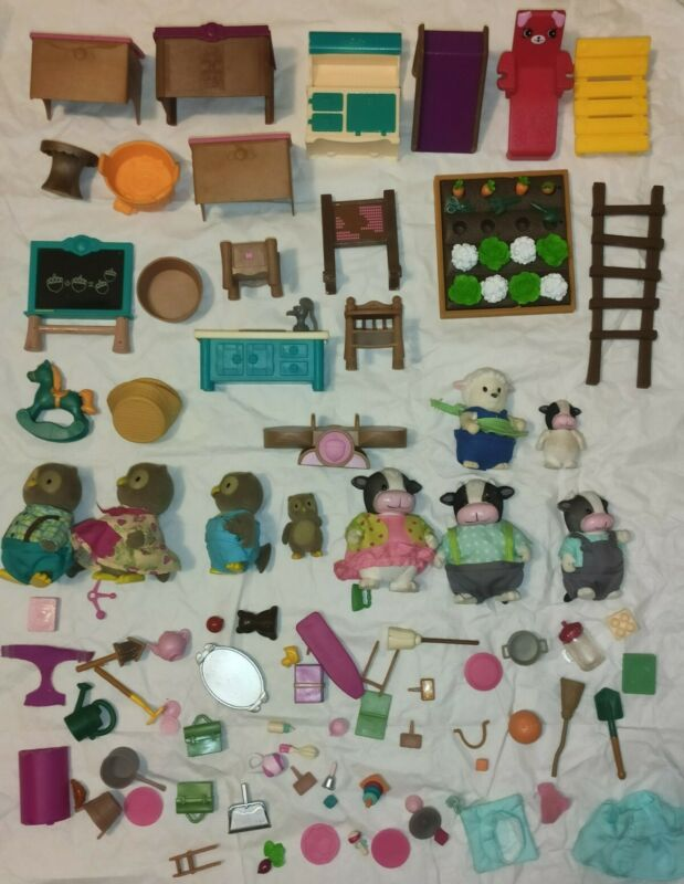 Lil Woodzeez Lot, Family Furniture Food Animals TONS Of Pieces