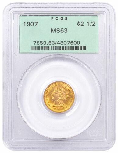1907 Liberty Head $2.5 Gold Quarter Eagles PCGS MS63 Old Green Holder SKU61220