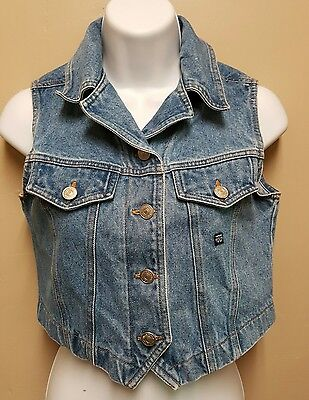 Jordache Juniors 8 10 Blue Jean Denim Short Crop Vest Waistcoat Hippie Cowgirl
