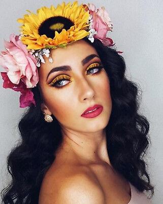 Sweet Pea Wedding Flowers - Sunflower Gypsophila Pink Rose Sweet Pea Flower Crown Hair Band Choochie Bridal
