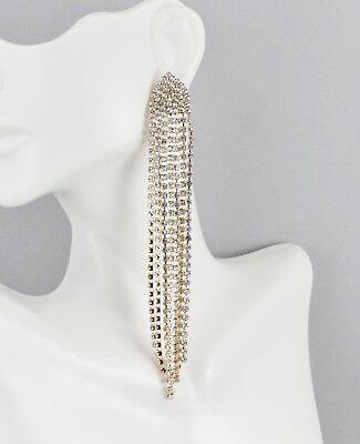 Gold crystal fringe earrings chandelier metal tassel dangle 4.5