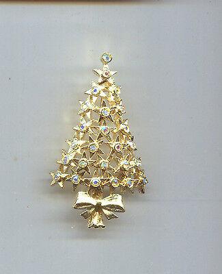 HOBE GOLD RHINESTONE STAR CHRISTMAS TREE PIN