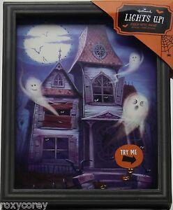 Halloween hallmark 8x10 lights up fiber optic haunted for Fiber optic halloween decorations home