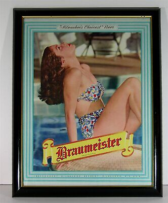 1950s MILWAUKEE BREWERY BRAUMEISTER BEER COLOR LITHOGRAPH ADVERTISING SIGN