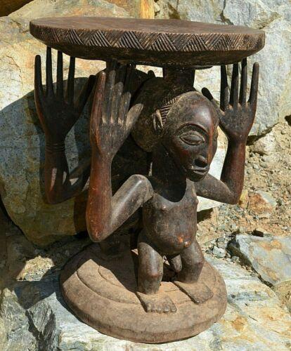 Antique African Luba Stool Caryatid Couple Male & Female Figures Congo, Africa