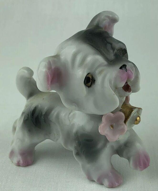 """Porcelain Dog Figurine Black & White Bulldog Pink Flower 2.75"""" Tall Japan Vtg"""