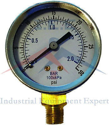 18 Npt Air Compressor Hydraulic Pressure Gauge 0-30 Psi Side Mount 2 Face