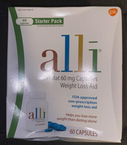 Alli Diet Weight Loss Supplement Pills, Orlistat 60mg Cap Starter PackEXP 03/22 - $29.99