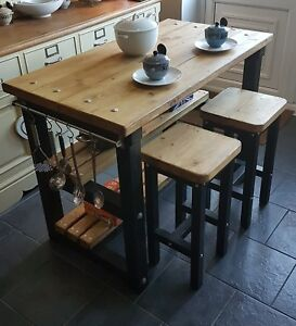 Rustic Kitchen Island Breakfast Bar Work Bench Butchers Block With 2 Stools